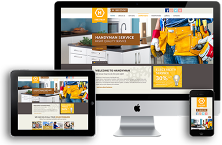 Mobile responsive websites for contractors - construciton company website design templates.